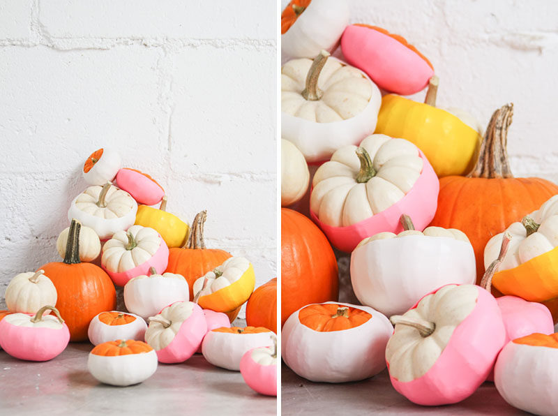 13 Modern DIY Halloween Pumpkin Ideas // Love the look of color dipped pumpkins but don't want the mess of paint? These pumpkins create the same effect but are made using colored balloons instead of paint.