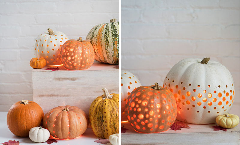 "13 Modern DIY Halloween Pumpkin Ideas // Lose the ""jack"" and just make a lantern using a drill and a bit of matte finish paint."