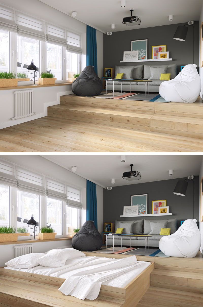 A clever design solution for a bed in a small apartment for 1 bedroom living room ideas