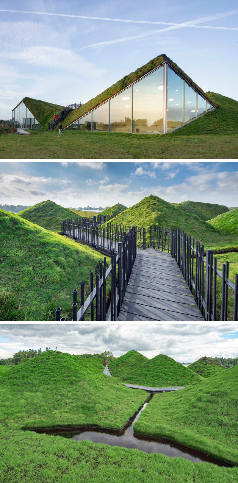 This Dutch museum is covered in grass and has a rooftop walkway.