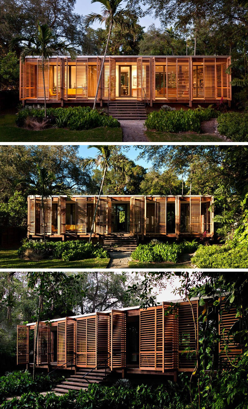 Brillhart Architecture have designed and built a tropical refuge for themselves in Miami, Florida, that includes 100 feet of uninterrupted glass.