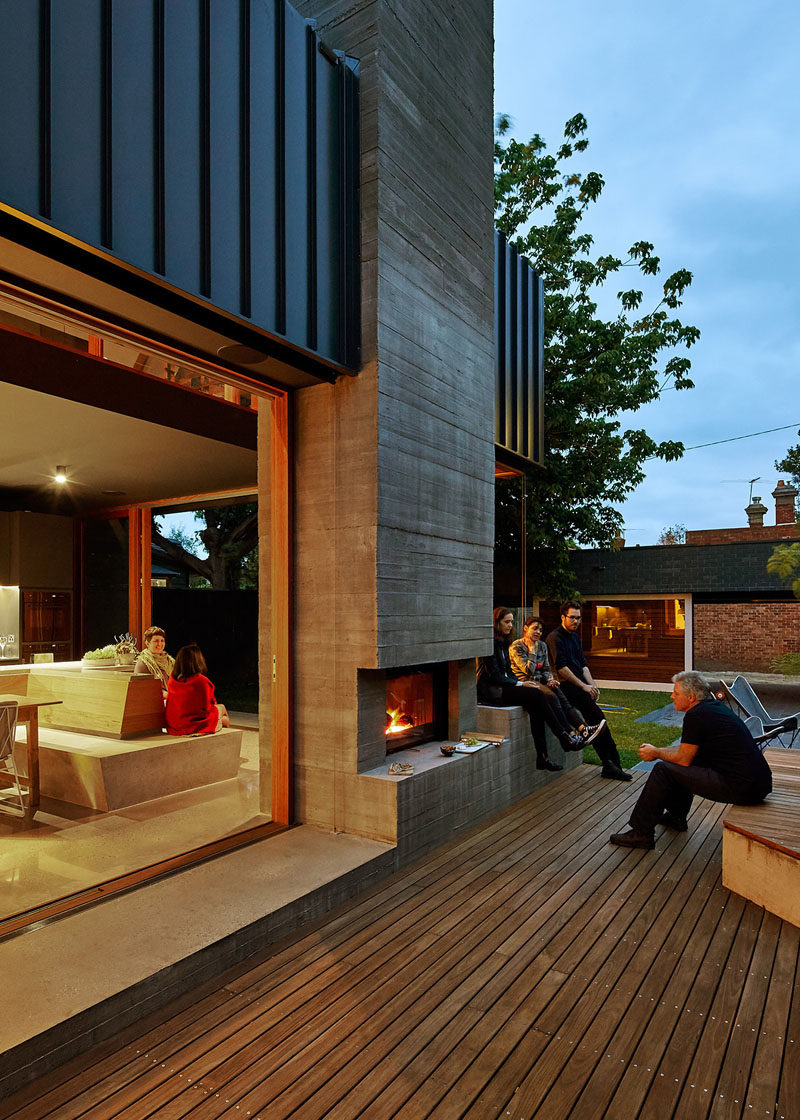 MAKE Architecture designed this home in Melbourne, Australia, that was given an extension with outdoor fireplace to make it more like a local hangout for the homeowners friends and family.