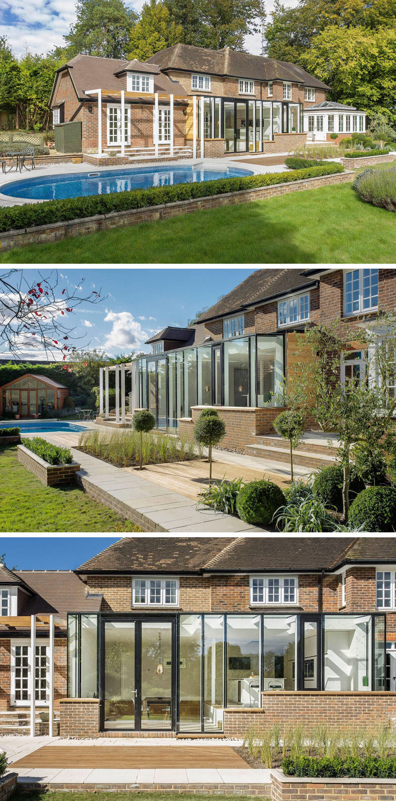 14 Examples Of British Houses With Contemporary Extensions // This large home got a bright extension that features lots of windows to brighten up the interior and help make it feel more connected to what's going on outside.