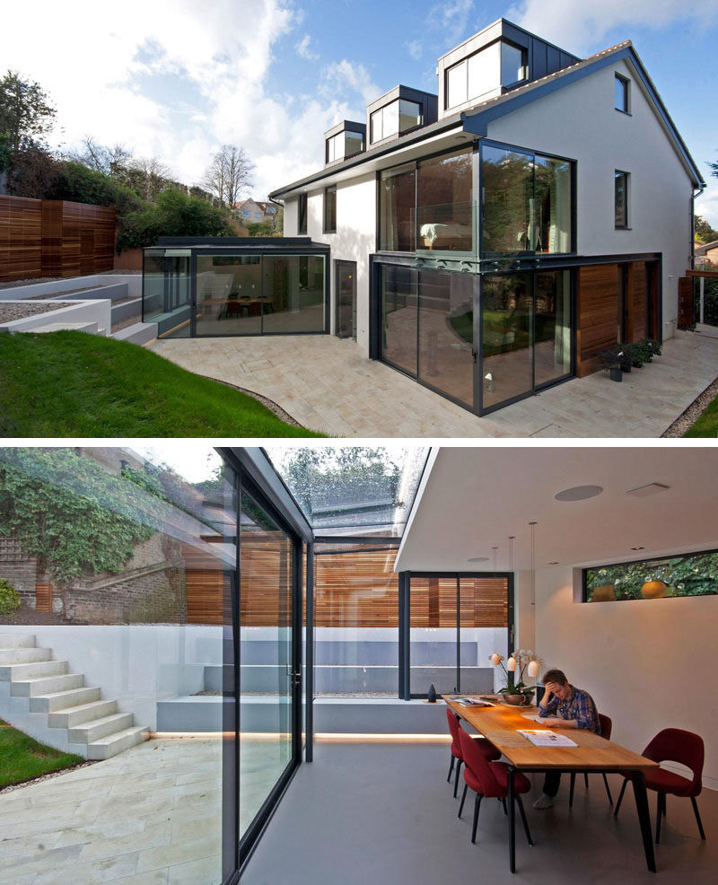 14 Examples Of British Houses With Contemporary Extensions // This British home went through a major upgrade that brightened and modernized the entire home, making it open and inviting.