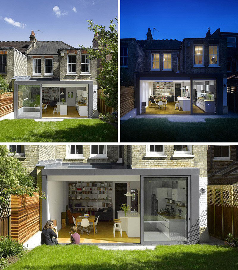 14 Examples Of British Houses With Contemporary Extensions // The modern extension on this London home created a modern kitchen and living space, and opens up right onto the grassy back yard.