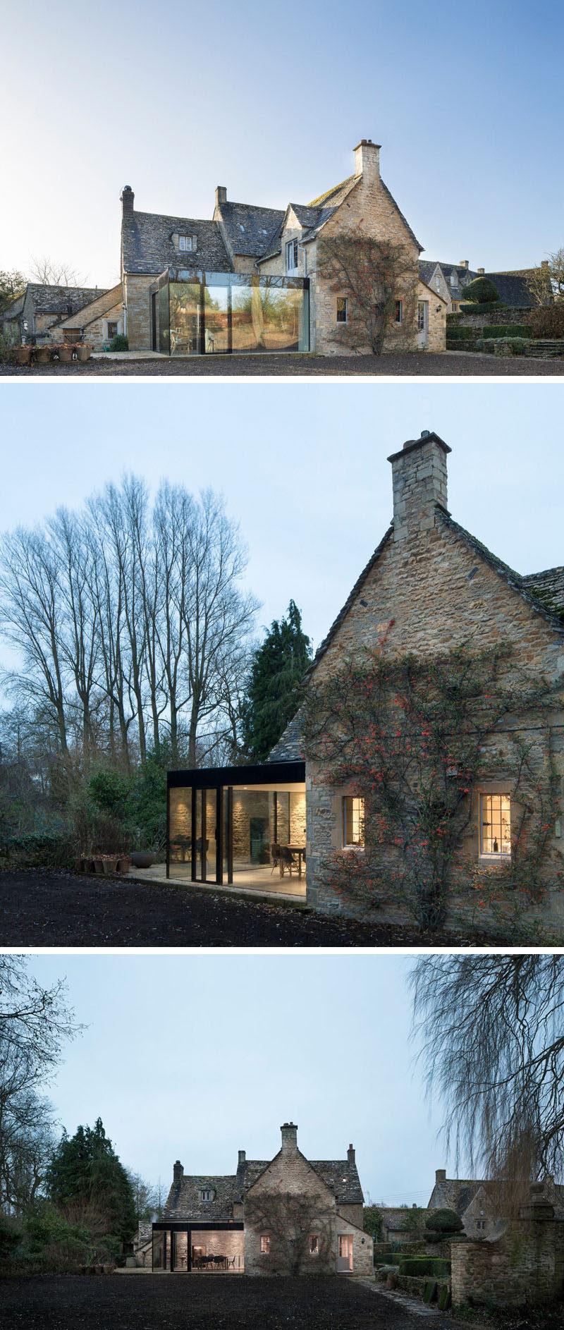 14 Examples Of British Houses With Contemporary Extensions // A traditional stone house got a contemporary extension built from glass windows and black steel that created a modern dining area still connected to the rest of the stone home.