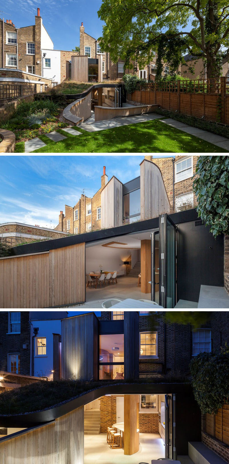 14 Examples Of British Houses With Contemporary Extensions // The modern light wood paneled extension built onto the back of this British home is concealed by an angled green roof that connects to the rest of the garden and curves around the top of the extension.