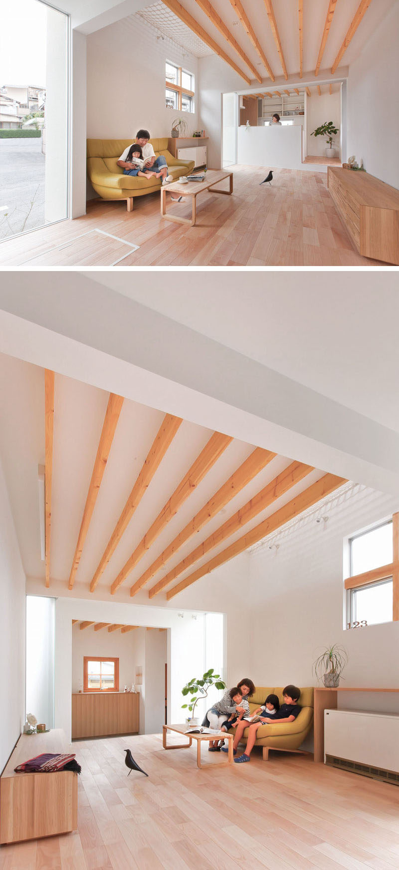 This house in Japan has a bright interior with white walls and light wood, plus there's a built-in, lofted hang-out net for the children to relax in.