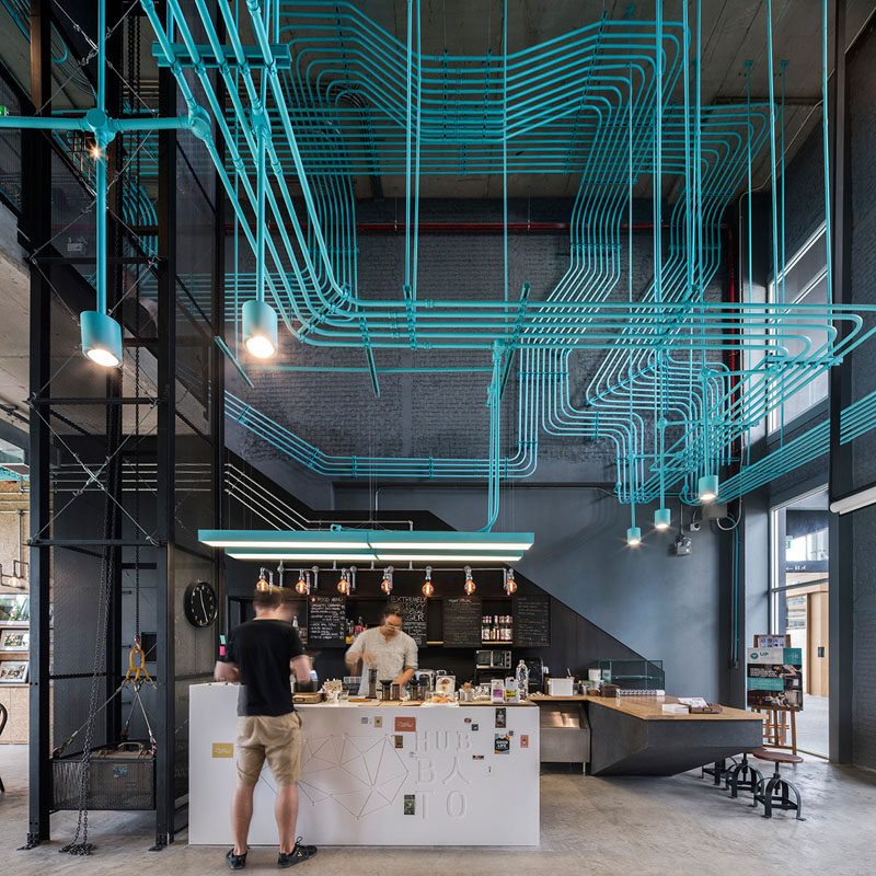 Interior Decor Idea   Turquoise Electrical Conduit Is A Design Feature  Running Through This Co