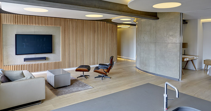 Interior Design Idea - A Section Of This Wood Covered Wall Was Left Empty For The TV