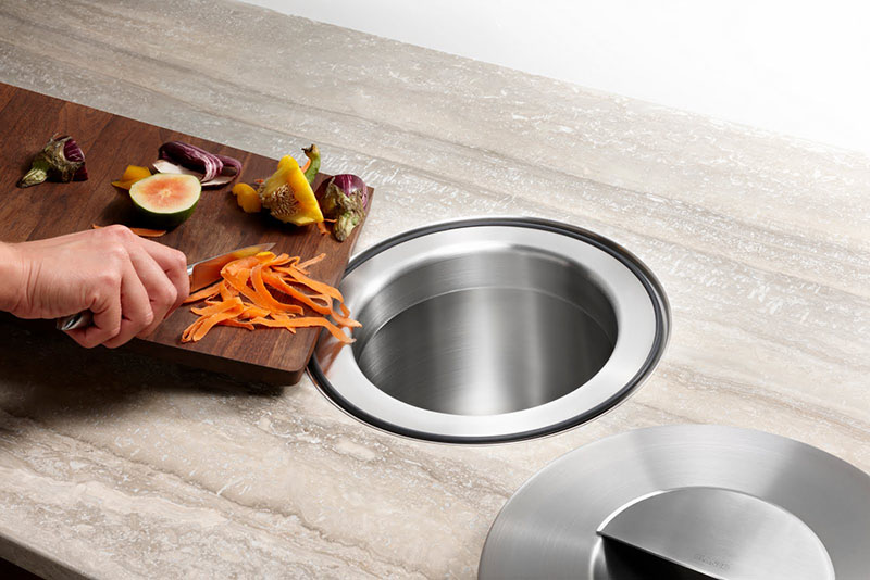 Countertop Trash Chute With Cutting Board Agtc