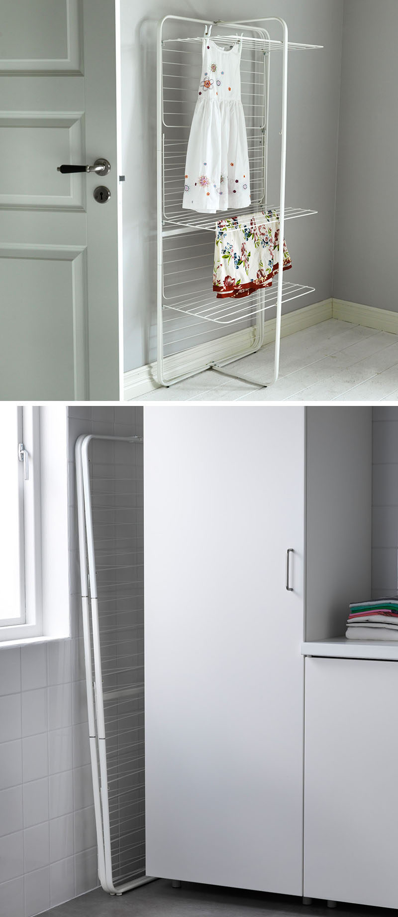 7 Ideas For Making Your Laundry Room More Organized // Having a foldable drying rack makes it easy to dry delicate items, and when not in use, it can be neatly tucked away.