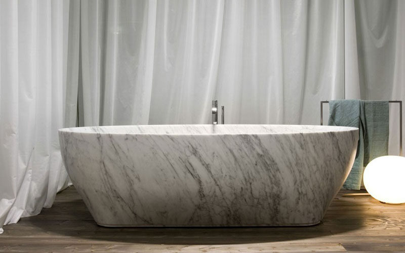 Bathroom Design Idea - 5 Ideas For Adding Marble To Your Bathroom // Marble tubs come in such a huge variety of patterns and colors that no two tubs are exactly the same meaning your marble tub also adds an element of true uniqueness to your home.