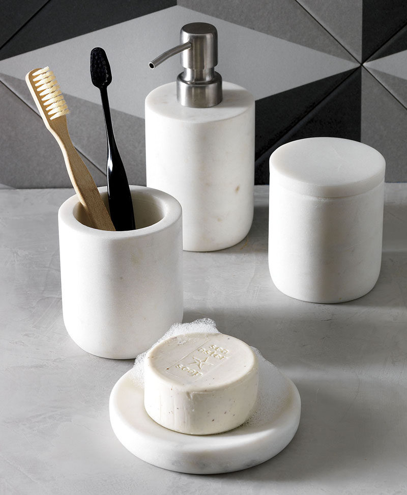 Bathroom Design Idea - 5 Ideas For Adding Marble To Your Bathroom // Accessories - A marble toothbrush holder, soap ledge, or cotton ball container can all transform your bathroom into a sophisticated and glamorous spa-like oasis.