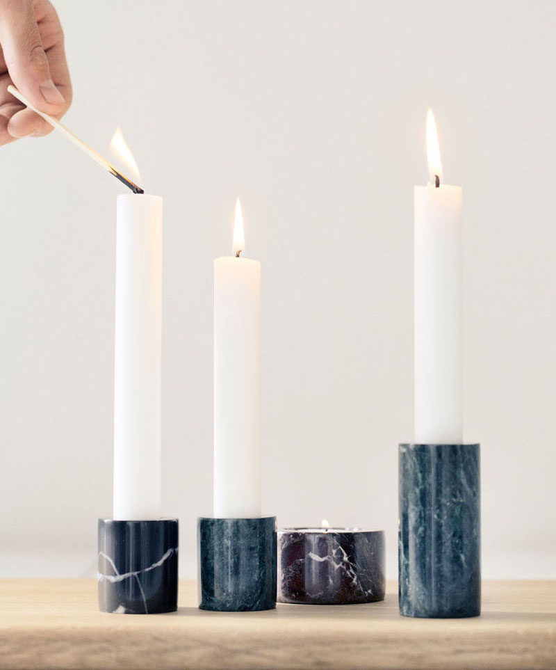 Bathroom Design Idea - 5 Ideas For Adding Marble To Your Bathroom // Candle Holders - Nothing says relaxation more than a candle lit bubble bath. Marble candle holders can help get you there.