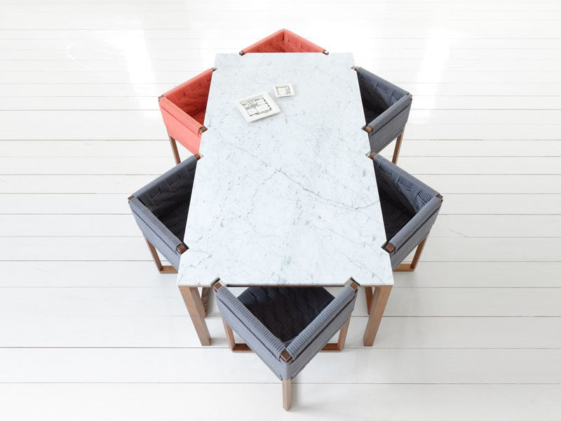 Kitchen Design Idea - How To Add Marble In Your Kitchen // This marble dining table and the chairs that go with it encourage you get comfy as you sit down to the table to enjoy a big delicious brunch or a fun dinner party.