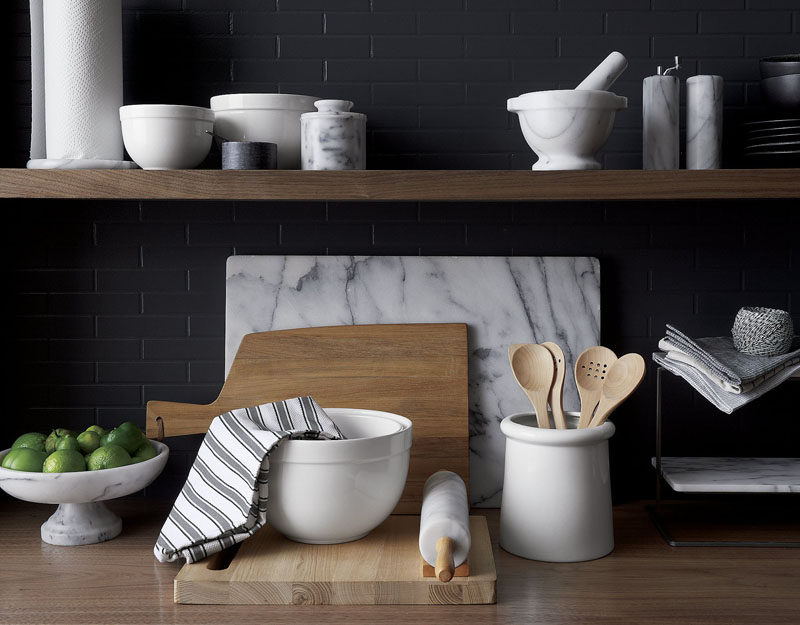 Kitchen Design Idea - How To Add Marble In Your Kitchen // Mixing bowls, utensil holders, and cutting boards all come in marble and, when they're used all together, make your kitchen feel put together and sophisticated.