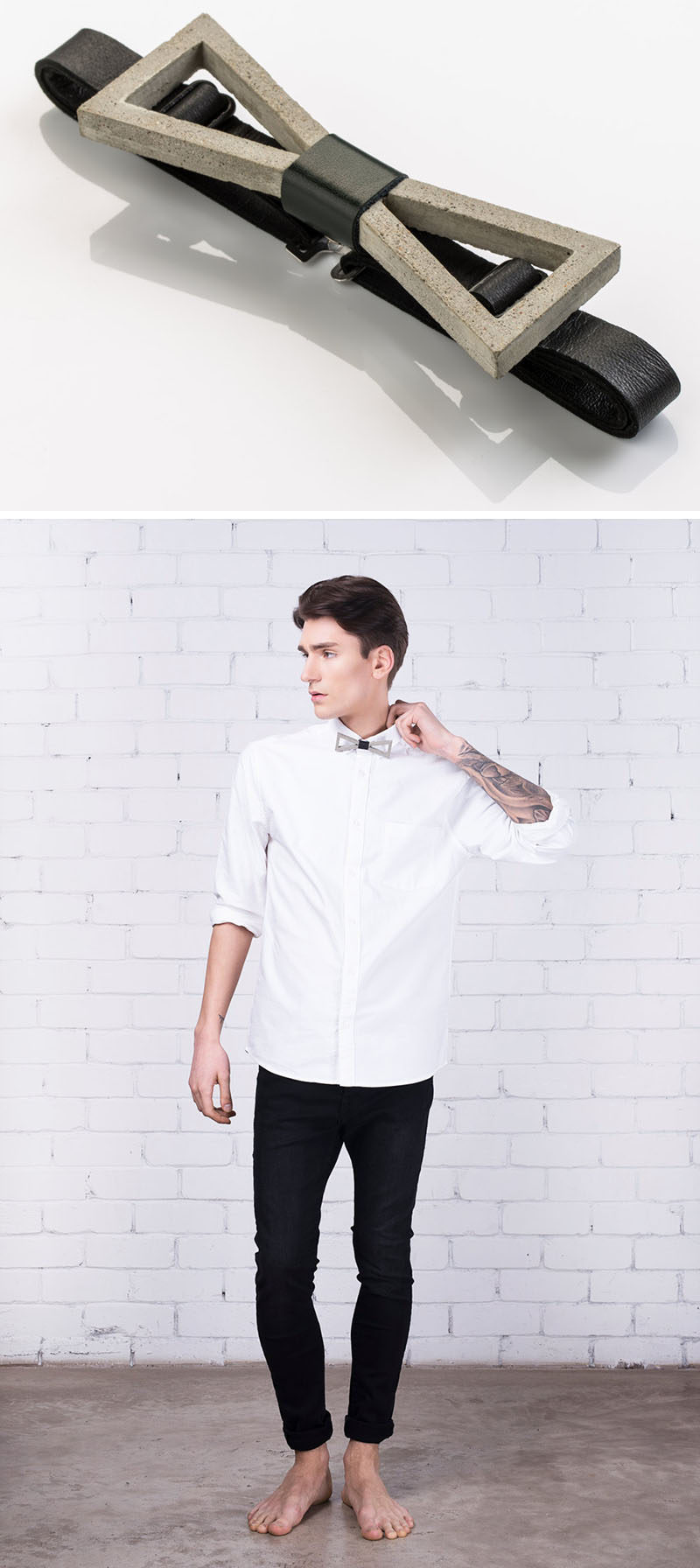The Ultimate Gift Guide For The Modern Man (40+ Ideas!) // A Concrete And Leather Bow Tie
