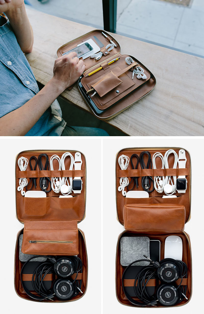 The Ultimate Gift Guide For The Modern Man (40+ Ideas!) // A Leather Cord And Device Organizer