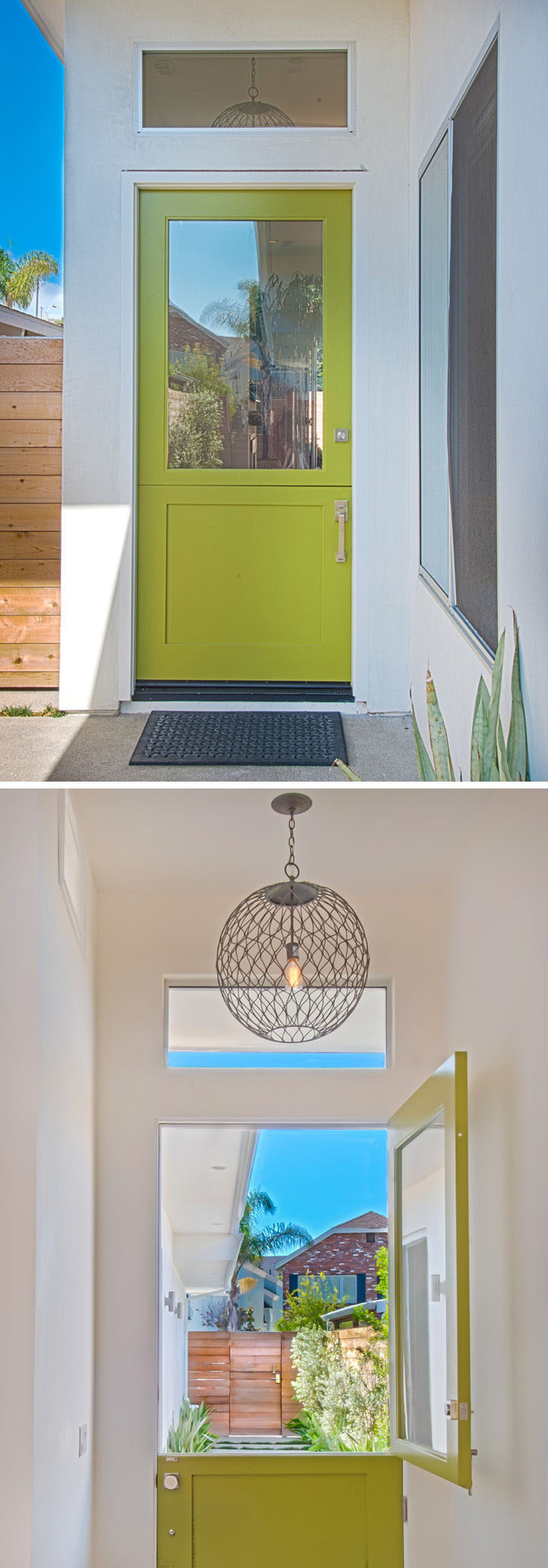 Door Design Ideas - 9 Examples Of Modern Dutch Doors // A bright green Dutch door greets people as they arrive and brightens up the entry way of this modern home.