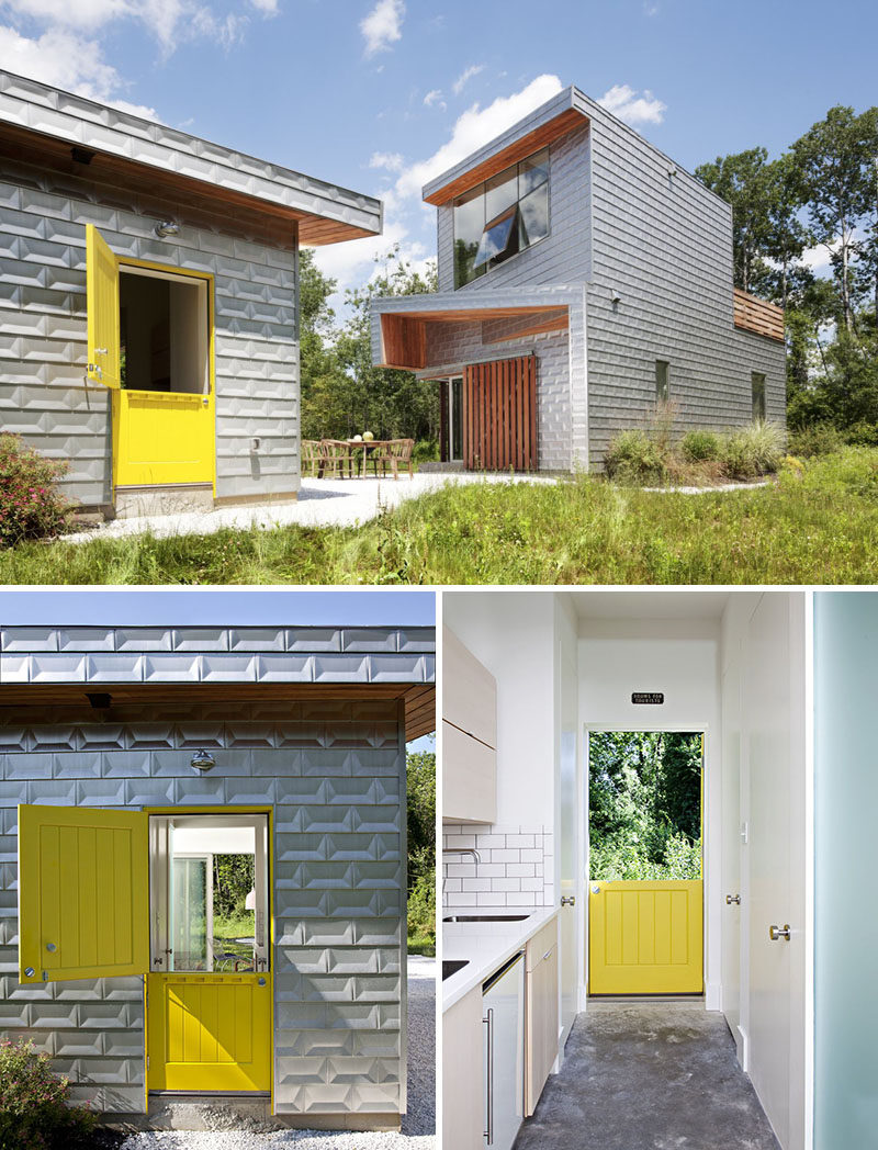 Door Design Ideas - 9 Examples Of Modern Dutch Doors // A friendly yellow Dutch door welcomes guests to this guest house and fits right in with the modern country home theme the designers were aiming for.