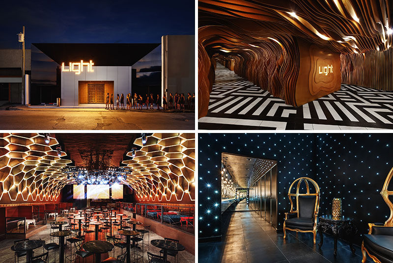 This renovated nightclub features organic wood shapes, mirror effects, honeycomb ceiling details and walls with stars.
