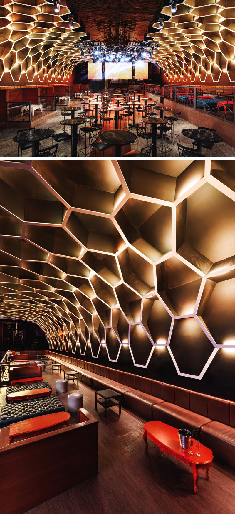 Honeycomb shapes create a dramatic look in this modern nightclub.