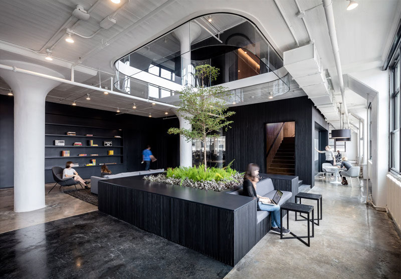 Design firm A+I have recently completed the new Squarespace head office in New York that features dramatic interiors and a rooftop patio.