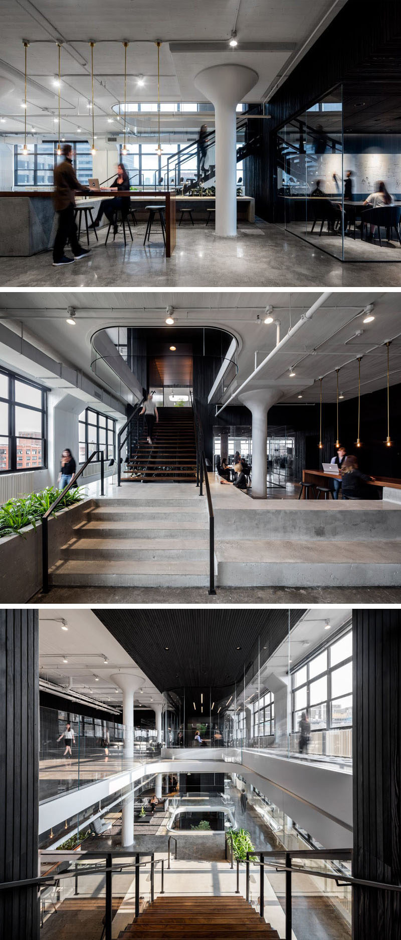 This office space has a common area for working on joint projects, and large windows that fill the various floors with lots of light. Polished concrete floors have been used throughout the office, and wide staircases help to keep the various levels of the office open and connected.