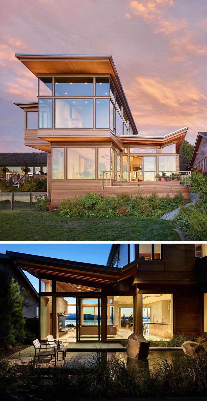 20 Awesome Examples Of Pacific Northwest Architecture // The over hanging eaves on this home expose the wood detailing and prevent rain water from eroding the foundation of the house.