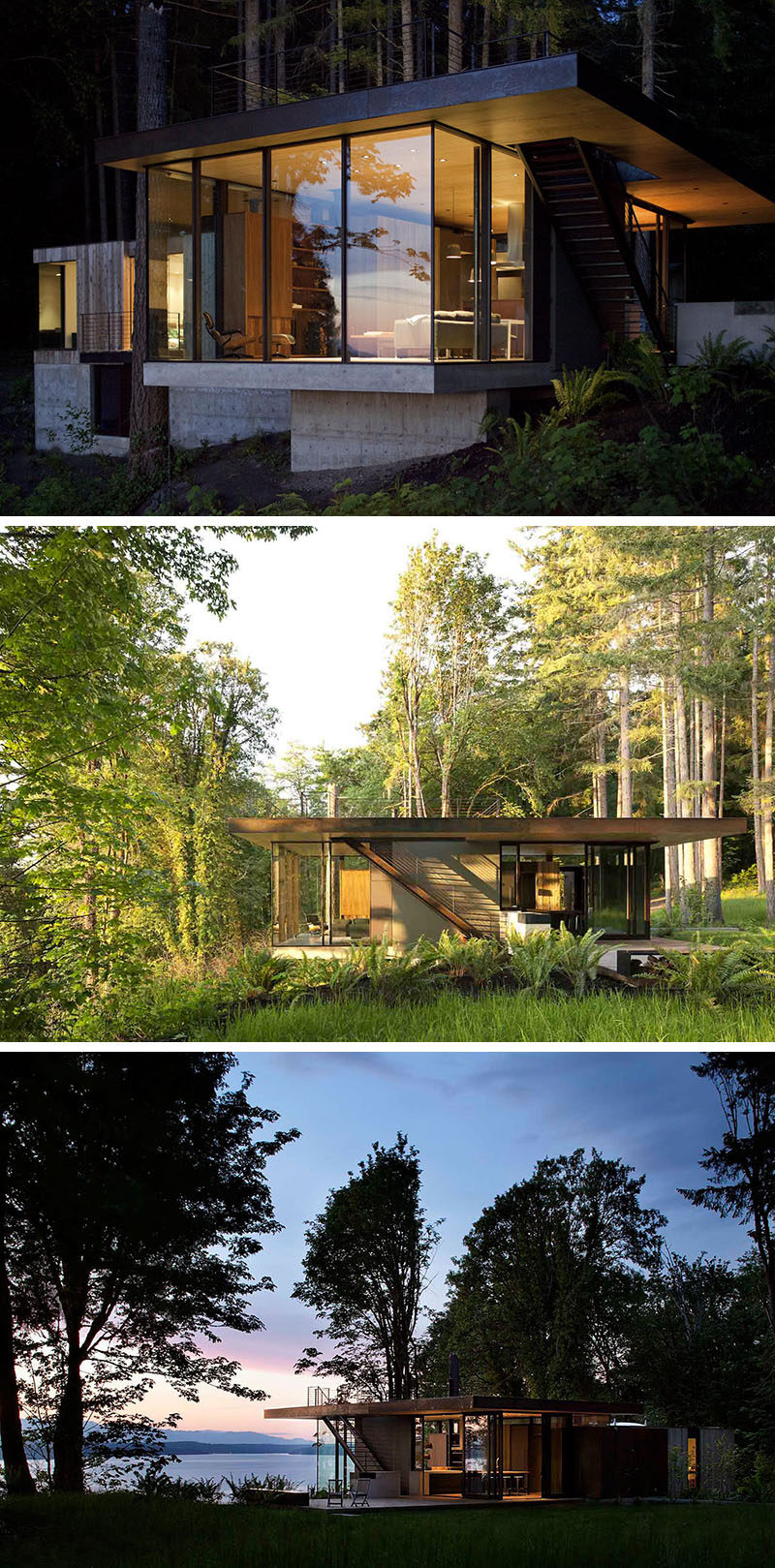 20 Awesome Examples Of Pacific Northwest Architecture // This home takes advantage of views of the ocean and the mountains and features many of the common characteristics of Pacific Northwest structures, like lots of glass.