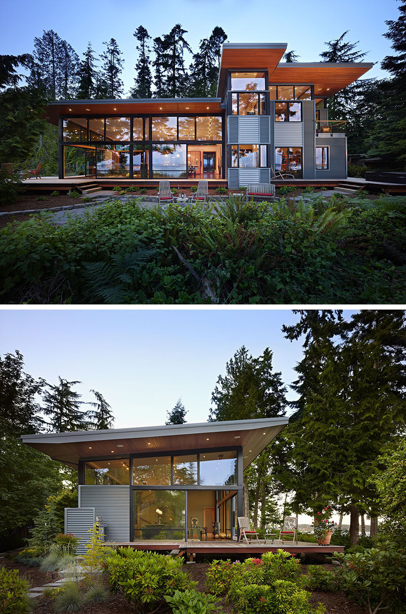 20 Awesome Examples Of Pacific Northwest Architecture // Walls of windows let light flood into this forest home while deep over hanging wooden eaves provide a natural element.