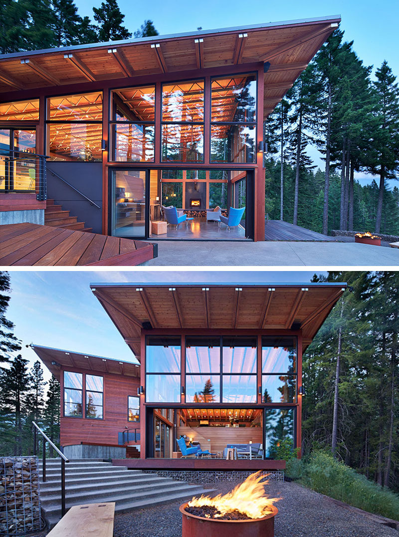 20 Awesome Examples Of Pacific Northwest Architecture // Heavy use of wood and steel protect this house from the elements and large windows take advantage of the views of the surrounding landscape.