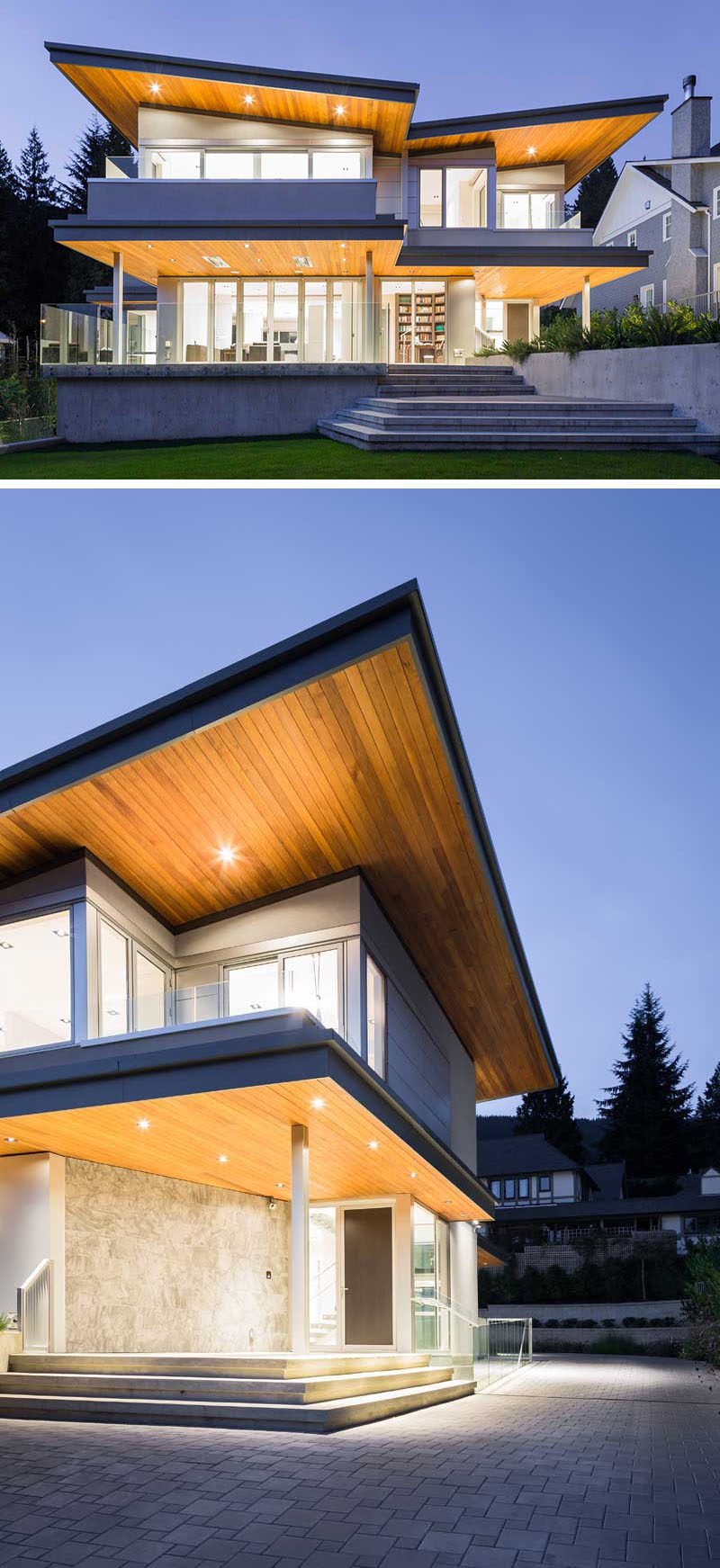 20 Awesome Examples Of Pacific Northwest Architecture // The wood butterfly roof above the concrete house, coupled with the dramatic lighting, make this Pacific Northwest home look dramatic and modern.