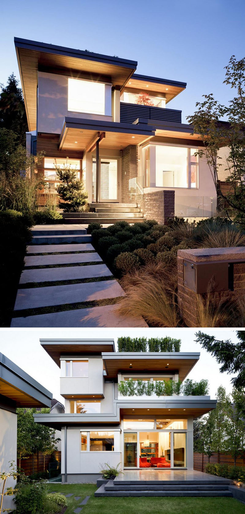 20 Awesome Examples Of Pacific Northwest Architecture // Clean lines and right angles create a geometric look while concrete, stone, and wood warm it up and make it feel cozy and inviting.