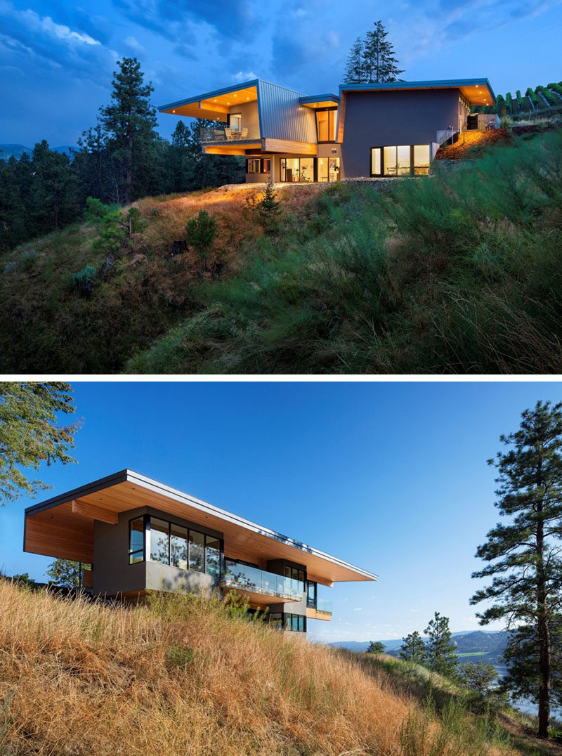 20 Awesome Examples Of Pacific Northwest Architecture // Lots of glass and wood keep this house feeling bright and welcoming, and make the most of the lake and vineyard views.