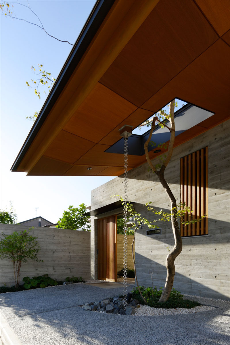 14 Modern Homes That Use Rain Chains To Divert Water // Multiple chains hang from this roof and guide water into small garden keeping the plants well watered.