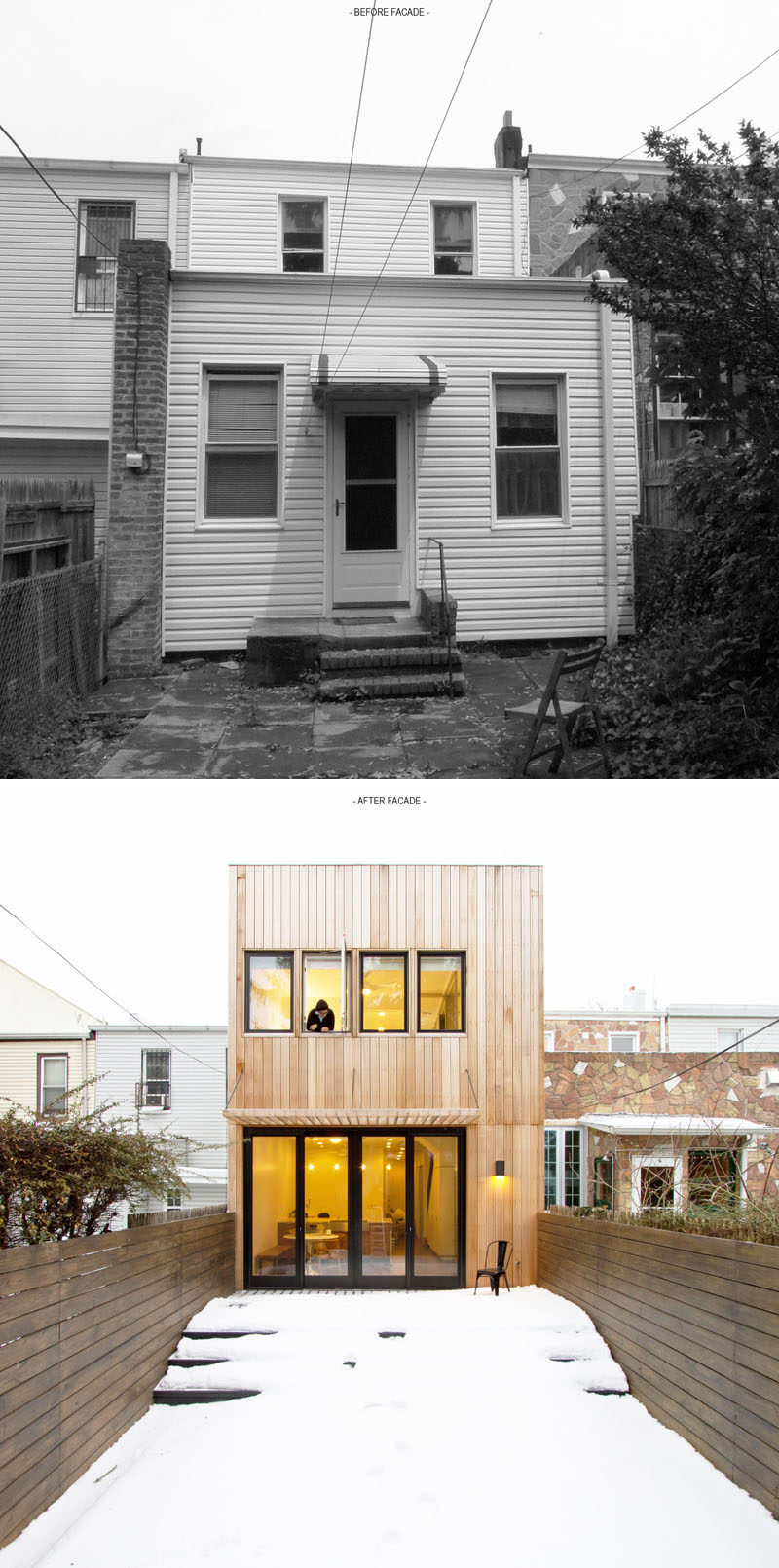 House Renovation Ideas - 17 Inspirational Before & After Projects // This old Brooklyn row home underwent a contemporary transformation that added an extra level, and replaced outdated white siding with light toned strips of wood.
