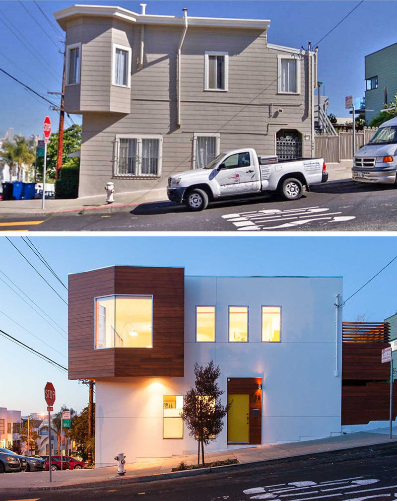 House Renovation Ideas - 17 Inspirational Before & After Projects // This existing duplex in San Francisco was transformed into a modern house with a more angular design.