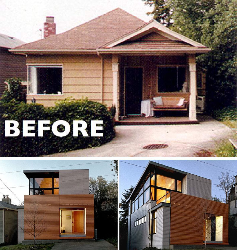House Renovation Ideas - 17 Inspirational Before & After Projects // This tiny home added modern wood siding, large windows and another level to become a contemporary multi-story home.