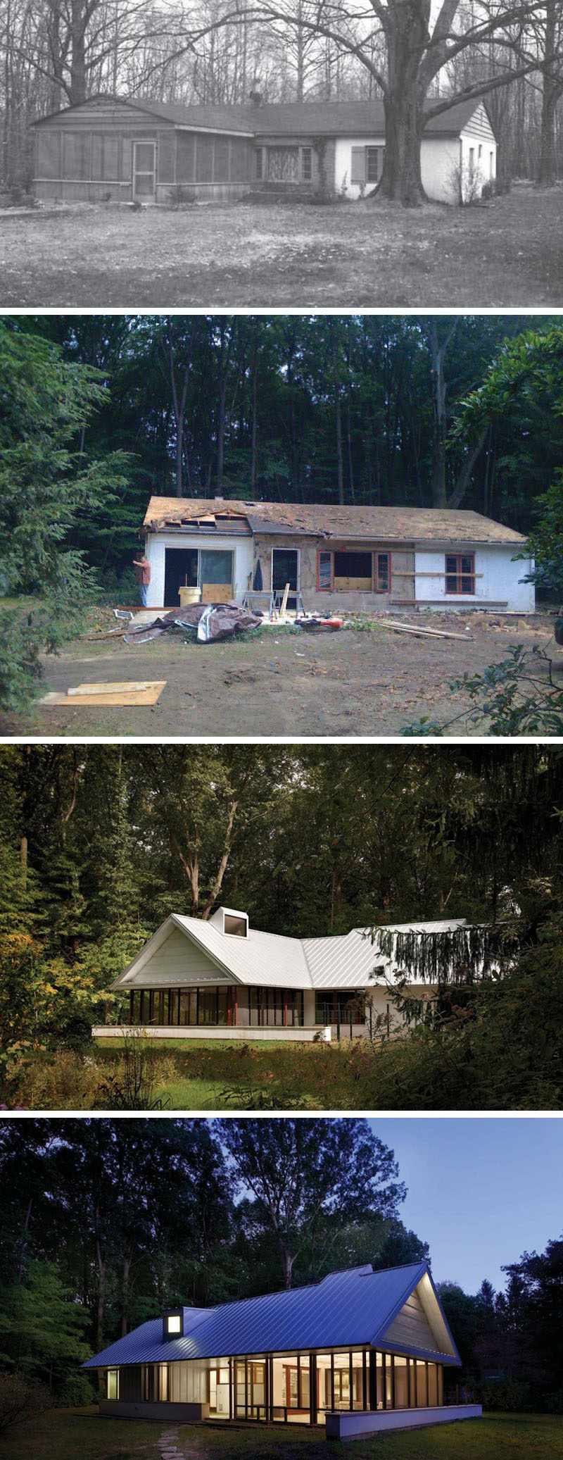 House Renovation Ideas - 17 Inspirational Before & After Projects // An old abandoned cabin in the woods was rescued and transformed into a modern escape from reality.