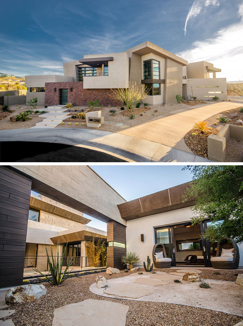 This Las Vegas home has no grass but instead has a number of plants scattered throughout the rocks, all drought resistant and and very low maintenance. #RockGarden #GardenIdeas #ModernGarden #Landscaping #GardenDesign