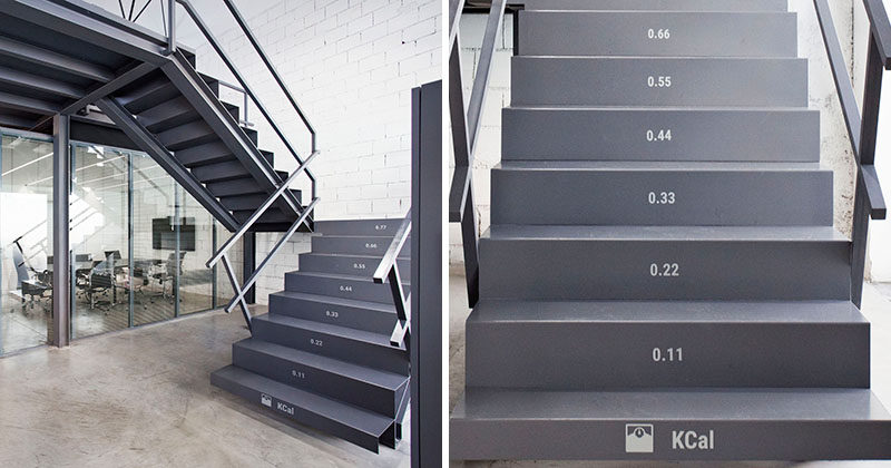 Stairs Design Ideas - These office stairs have the number of calories you burn on each tread as you walk up them.