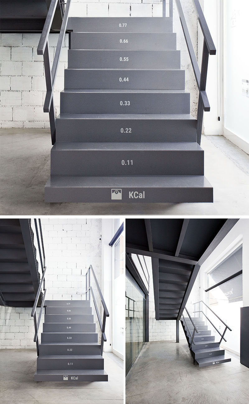 These office stairs have the number of calories you burn on each tread as you walk up them.