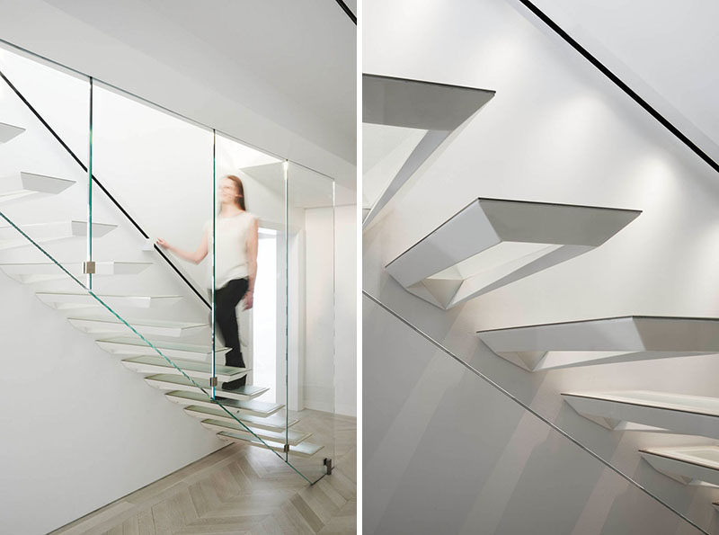 Modern Stair Design Idea - These stairs were inspired by the Japanese art form of paper folding.