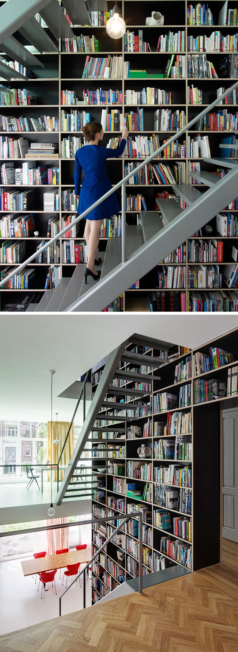 12 Examples Of Staircases With Bookshelves // This bookshelf along side the staircase is as tall as the entire apartment it's in.