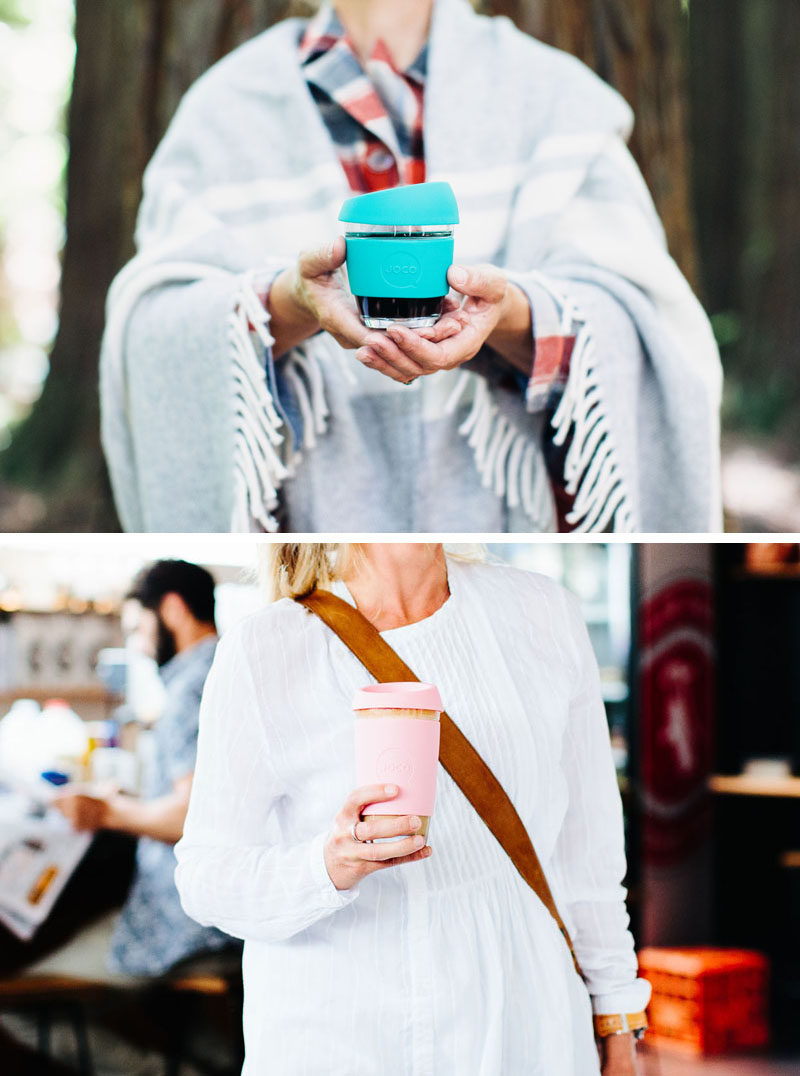 Gift Ideas For Tea Drinkers // Perfect for people who like to enjoy their tea on the go, these travel mugs are made from thick glass and have insulating silicone lids and sleeves to keep your drink at just the right temperature.