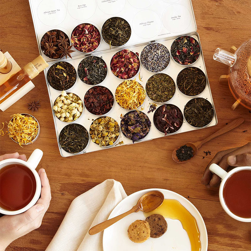 Gift Ideas For Tea Drinkers // This tea gift set has an array of nine herbs and three varieties of eco-certified, organic green tea from Japan, India, and Sri Lanka, as well as reusable tea bags.