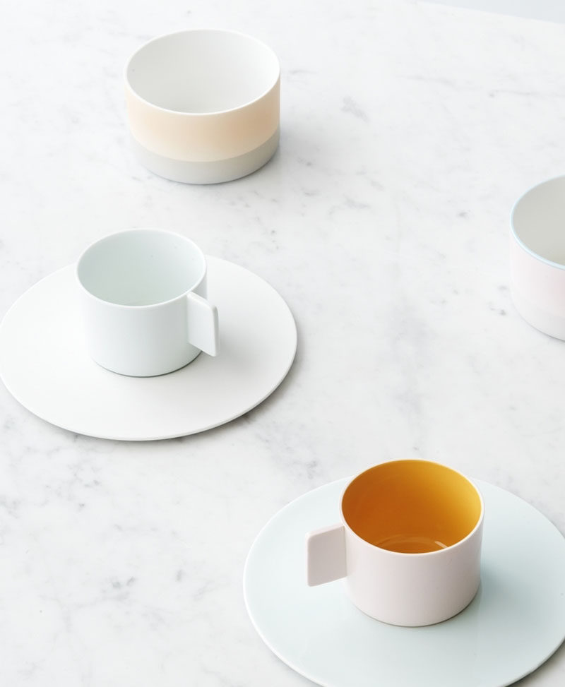 Gift Ideas For Tea Drinkers // Soft colors add a subtle touch of fun to these contemporary porcelain teacups and saucers.