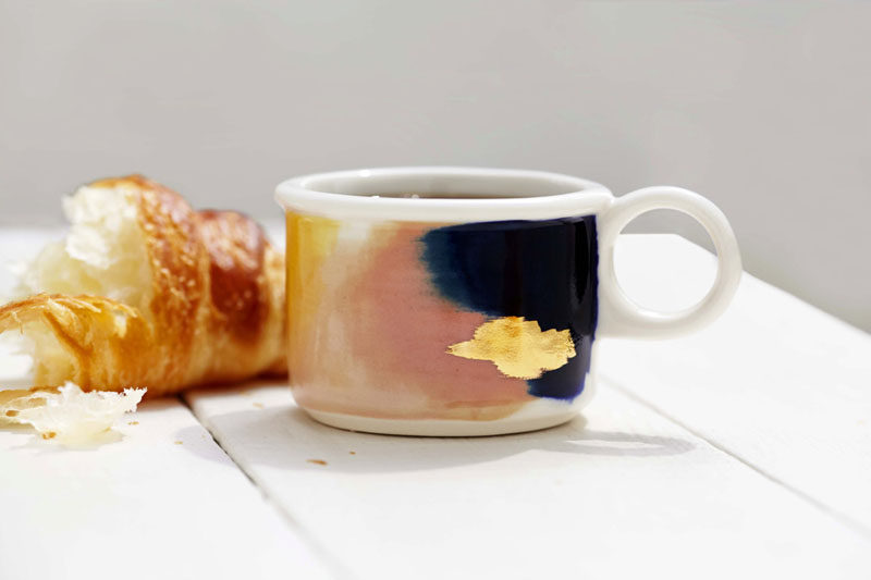 Gift Ideas For Tea Drinkers // Abstract water colors with gold touches create dainty yet modern teacups for the avid tea consumer.
